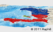 Flag Panoramic Map of Haiti, shaded relief outside