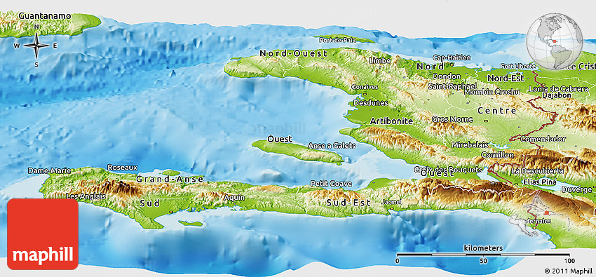 Physical Panoramic Map Of Haiti - Physical map of haiti
