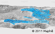 Political Shades Panoramic Map of Haiti, desaturated