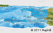 Political Shades Panoramic Map of Haiti, satellite outside, bathymetry sea