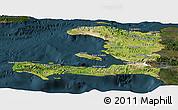 Satellite Panoramic Map of Haiti, darken