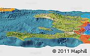 Satellite Panoramic Map of Haiti, political outside, satellite sea