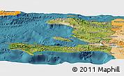 Satellite Panoramic Map of Haiti, political shades outside, satellite sea