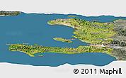 Satellite Panoramic Map of Haiti, semi-desaturated, land only
