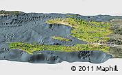 Satellite Panoramic Map of Haiti, semi-desaturated