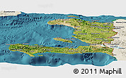Satellite Panoramic Map of Haiti, shaded relief outside, satellite sea