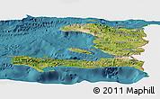 Satellite Panoramic Map of Haiti, single color outside