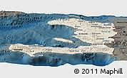 Shaded Relief Panoramic Map of Haiti, darken