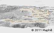 Shaded Relief Panoramic Map of Haiti, desaturated