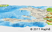 Shaded Relief Panoramic Map of Haiti, physical outside
