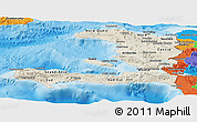 Shaded Relief Panoramic Map of Haiti, political outside, shaded relief sea