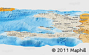 Shaded Relief Panoramic Map of Haiti, political shades outside, shaded relief sea