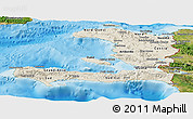 Shaded Relief Panoramic Map of Haiti, satellite outside, shaded relief sea