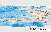 Shaded Relief Panoramic Map of Haiti, semi-desaturated, land only