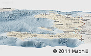 Shaded Relief Panoramic Map of Haiti, semi-desaturated