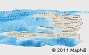 Shaded Relief Panoramic Map of Haiti, single color outside