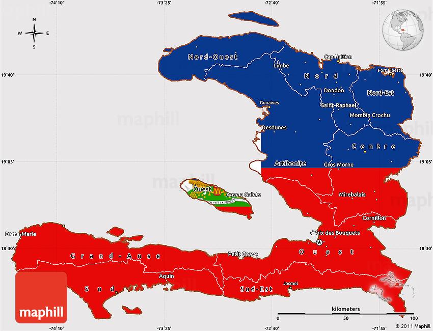 Flag Simple Map of Haiti