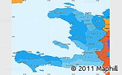 Political Shades Simple Map of Haiti, political outside