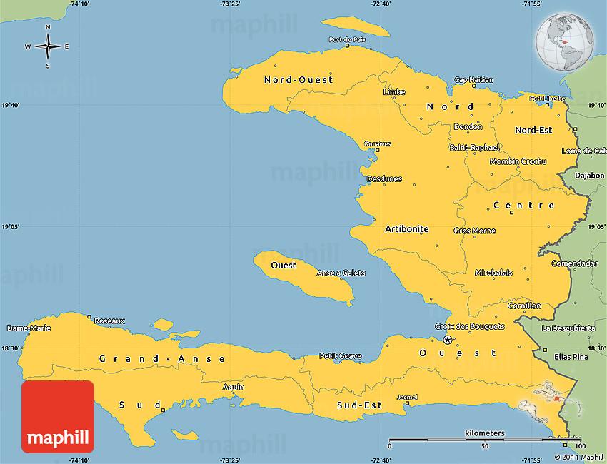 Savanna Style Simple Map Of Haiti - Haiti maps