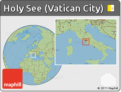 Vatican City On World Map.Free Savanna Style Location Map Of Holy See Vatican City