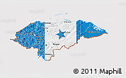 Flag 3D Map of Honduras, flag aligned to the middle