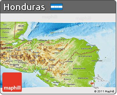 Free Physical 3D Map of Honduras