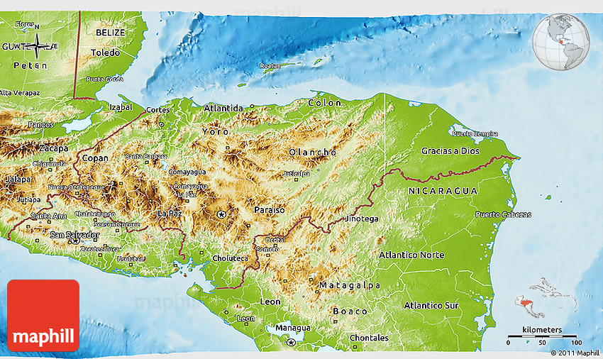 Physical D Map Of Honduras - Hondurus map