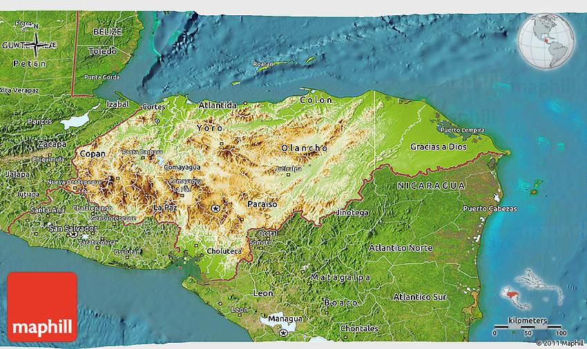 Physical 3D Map of Honduras satellite outside