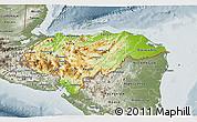 Physical 3D Map of Honduras, semi-desaturated