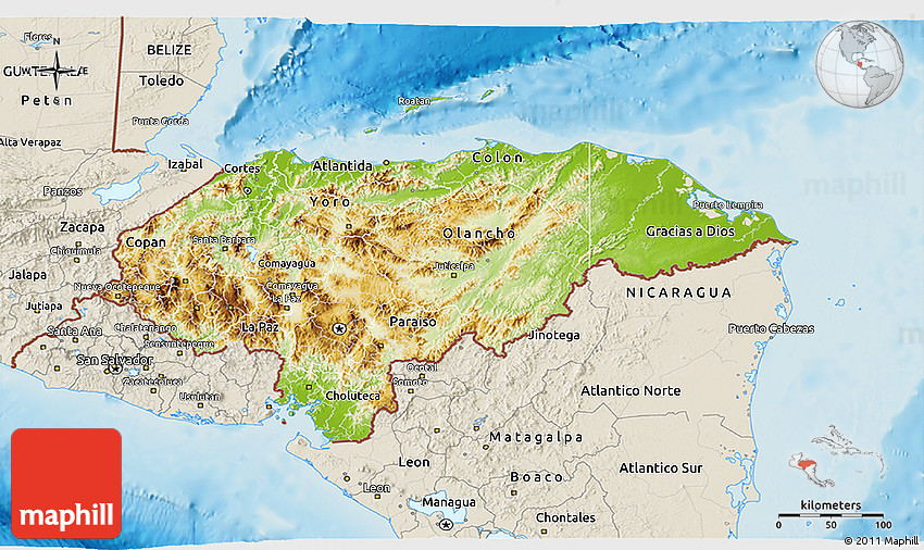 Physical 3D Map of Honduras shaded relief outside