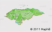 Political Shades 3D Map of Honduras, cropped outside