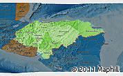 Political Shades 3D Map of Honduras, darken