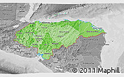 Political Shades 3D Map of Honduras, desaturated