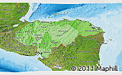 Political Shades 3D Map of Honduras, satellite outside, bathymetry sea
