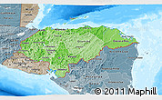 Political Shades 3D Map of Honduras, semi-desaturated, land only