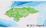 Political Shades 3D Map of Honduras, single color outside