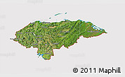 Satellite 3D Map of Honduras, cropped outside