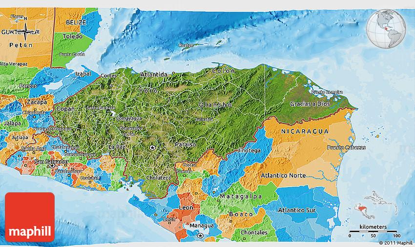 Satellite 3D Map of Honduras political outside