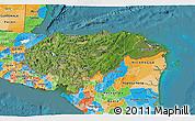 Satellite 3D Map of Honduras, political outside, satellite sea
