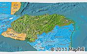 Satellite 3D Map of Honduras, political shades outside, satellite sea