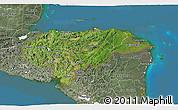 Satellite 3D Map of Honduras, semi-desaturated, land only