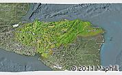 Satellite 3D Map of Honduras, semi-desaturated