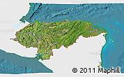 Satellite 3D Map of Honduras, single color outside