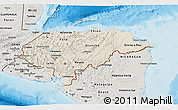 Shaded Relief 3D Map of Honduras, semi-desaturated, land only