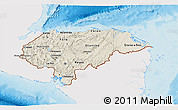 Shaded Relief 3D Map of Honduras, single color outside