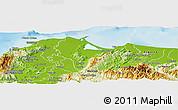 Physical Panoramic Map of Tela