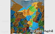 Political 3D Map of Cortes, darken