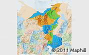 Political 3D Map of Cortes, lighten