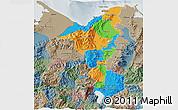 Political 3D Map of Cortes, semi-desaturated