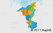 Political 3D Map of Cortes, single color outside